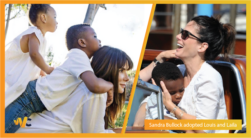 Sandra Bullock adopted Louis and Laila