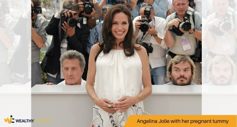 Angelina Jolie with her pregnant tummy