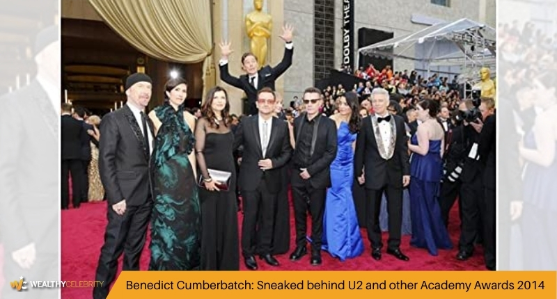 Benedict Cumberbatch Sneaked behind U2 and other Academy Awards 2014