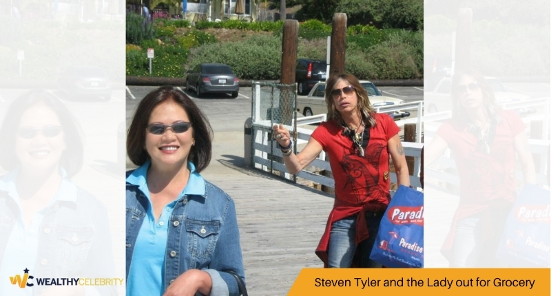 Steven Tyler and the Lady out for Grocery